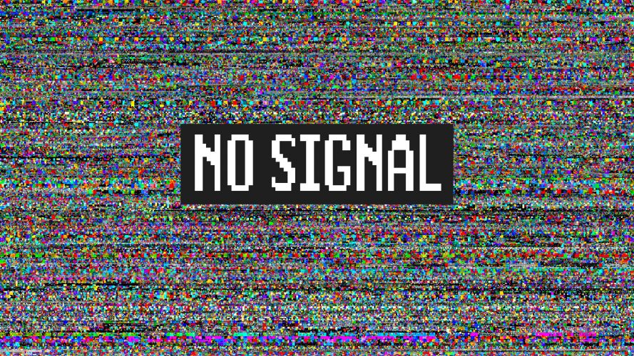 GLITCH! No signal message on TV set with background of colourful pixelated noise.